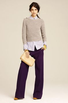Love this season's bright colors in wool pants, layered merino over oxford type blouse, satin ballet flats in contrasting mustard, love!:  J. Crew Fall Collection