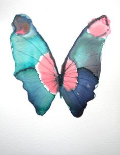 turquoise green butterfly watercolor by metamorphosing