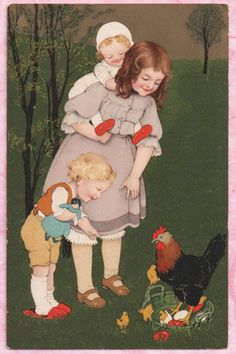 UNS. MARIE FLATSCHER Meissner & Buch SWEET SIBLINGS Easter DARLING LITHO IMAGE! #Easter