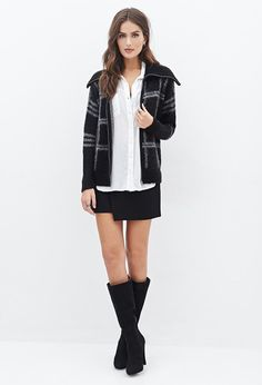 FOREVER 21+ Contemporary Fuzzy Plaid Shawl Collar Jacket