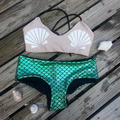 Mermaid Shell Bra Reversible Crossback by StrangeSoulCouture