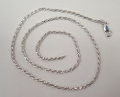 """SOLID 925 STERLING SILVER ROPE CHAIN NECKLACE 9.1g 18"""" LONG MADE IN ITALY #HAN #Chain"""