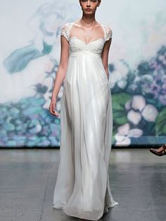 elegant embroidered lace cap sleeve fall wedding dress 2012 with keyhole back