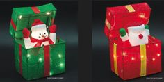 """ANIMATED SANTA OR SNOWMAN LIGHTED GIFT BOX OUTDOOR CHRISTMAS DECORATION NEW  11 x 12 x 8"""" $60"""
