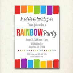 CUSTOM Rainbow Birthday Party Invitation from the new Catch My Party Printables Store! See more rainbow party ideas at CatchMyParty.com.