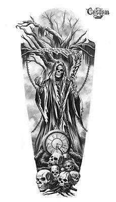 Ultimate List of Halloween Tattoos Custom tattoo design . - Ultimate List of Halloween Tattoos Custom Tattoo Design – Time& Up Grim Reaper Custom Tatto - Skull Tattoo Design, Tattoo Sleeve Designs, Skull Tattoos, Body Art Tattoos, Tattoo Sleeves, Tattoo Tod, Diy Tattoo, Custom Tattoo, Grim Reaper Art