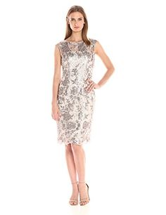 Short floral sequin sheath dress with short sleeves