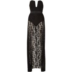 Illusion Lace Maxi Dress by Rare ($84) ❤ liked on Polyvore featuring dresses, gowns, black, plunge dress, lining dress, lined maxi dress, lace gown and lace dress