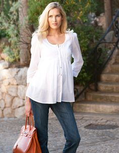 cotton voile shirt and orange bag Orange Bag, Pin Tucks, Maternity Fashion, Celebs, Knitting, Stylish, Cotton, Shirts, Clothes