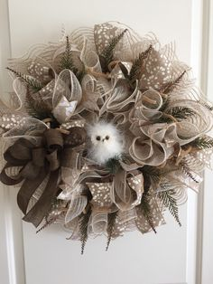 A personal favorite from my Etsy shop https://www.etsy.com/listing/294430585/owl-deco-mesh-wreath