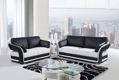 Black White Leather Cushion Back Living Room Set
