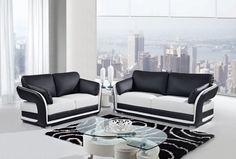 Black White Leather Cushion Back Living Room Set
