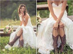 Western Cowgirl Wedding Dresses Simple Bridal Dresses, Country Style Wedding Dresses, Country Weddings, Country Wedding Boots, Country Dresses, Cowgirl Wedding, Cowboy Boots Wedding Dress, Dress Boots, Cowboy Weddings