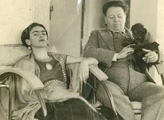 Frida Kahlo and Diego Rivera with monkey Fulang Chung in 1937