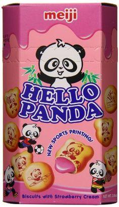 Meiji Hello Panda Strawberry Cream Biscuits (Singaporean), 50 g Japanese Snacks, Japanese Candy, Japanese Sweets, Japanese Food, Hello Panda, Candy Images, Cream Biscuits, Food Goals, Strawberries And Cream