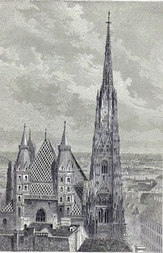 Antique print St. Stephen s Cathedral, Vienna 1863 holzstich Wien