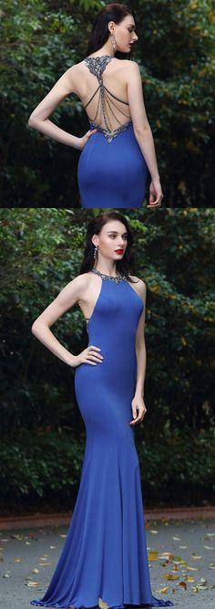 eDressit Elegant Blue Beaded Designer Backless Evening Dress