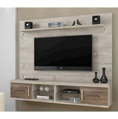 "George Oliver Lemington Entertainment Center for TVs up to 65"" Color: Off White/Maple Cream - craftIdea.org"