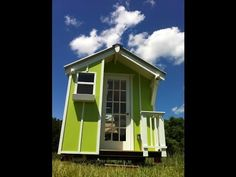 Cute Lime Green 72 sqr ft Tiny house by Trekker Trailers - YouTube -Really too small to live in but some interesting ideas, esp the semi lofted bed!!!