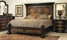 Bedroom furniture set with thick moldings, fluted casings, and detailed corbels