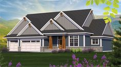 Home Plan HOMEPW77589 is a gorgeous 2154 sq ft, 1 story, 3 bedroom, 2 bathroom plan influenced by  Ranch  style architecture.