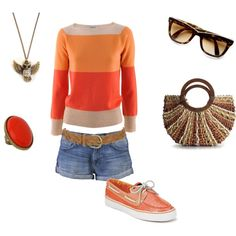 I just love the Bright Orange Tones and who isnt happy in jean shorts,Love!
