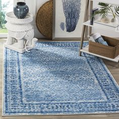 Amazon.com: Safavieh Adirondack Collection ADR110D Silver and Blue Vintage Distressed Square Area Rug (4' Square): Kitchen & Dining