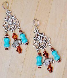 AMERICAN COWGIRL EARRINGS Silver Buffalo Charm Brown Crystal Aqua Turquoise Rhinestone Long Western Earrings $35