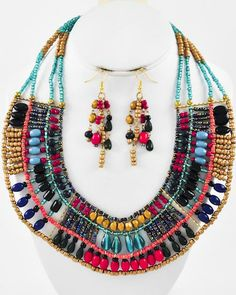 Burnished Gold Tone / Multi Color Acrylic / Lead&nickel Compliant / Necklace & Fish Hook Earring Set