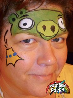 King Pig Design by Denise Cold of Painted Party Face Painting www.PaintedParty.com as a companion to the Angry Bird Design in Starblend Green and Yellow