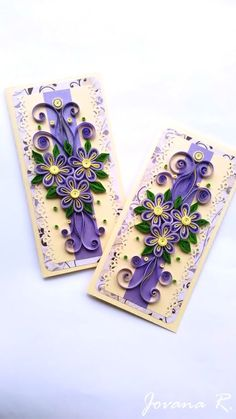 Quilling card/ Handmade card/ Mothers day / Purple card/ Purple and yellow card/ 3D card/ Quilling flowers/ Art card/ Birthday quilling card