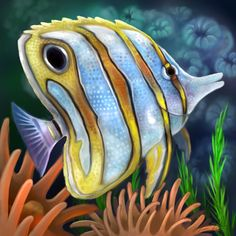 Layer Paint tropical copperband butterfly fish by charfade
