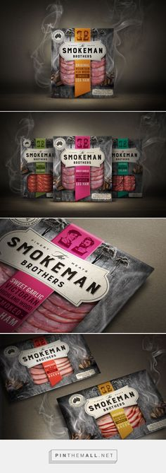 Smokeman Brothers - Smokeman Brothers – Packaging of the World – Creative Package Design Gallery – www.packagingo - : Smokeman Brothers - Smokeman Brothers – Packaging of the World – Creative Package Design Gallery – www. Cool Packaging, Food Packaging Design, Beverage Packaging, Packaging Design Inspiration, Brand Packaging, Packaging Ideas, Meat Packing, Meat Restaurant, Restaurant Design