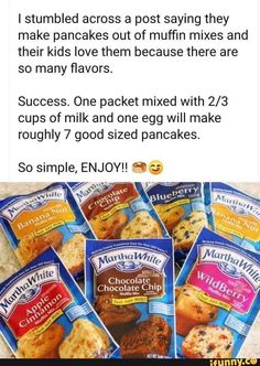Making pancakes from muffin mix What's For Breakfast, Breakfast Dishes, Breakfast Recipes, Birthday Breakfast, Breakfast Cookies, I Love Food, Good Food, Yummy Food, Tasty