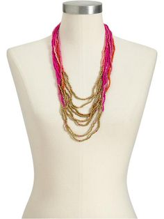 Pink Combo Multi-Strand Seed-bead necklace, Old Navy.  $16.94