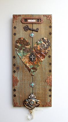 """Heart Art, Rustic Wooden Plaque """" I Love Us"""" Quote, Rusty Copper, Cross, Wall Decor, OOAK, Mixed Media by ArtofMyFocus on Etsy"""