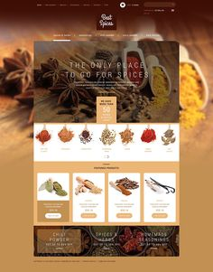 ZenCart Template for Refined Spices Herbs Website Catalogue Design Templates, Web Design Software, Catalog Design, Web Design Trends, Web Design Inspiration, Spice Logo, Spices Packaging, Template Web, Spice Labels