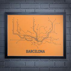 Lineposter serigrafía Barcelona  gris por LinePosters en Etsy, $28.00