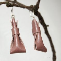 Fashion urban earrings from recycled leather in a feminine fall-winter color. Gentle rose pink $18