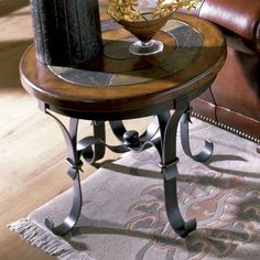 Riverside Stone Forge Round End Table - 31009