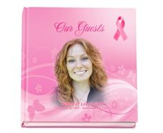 Hardcover Guest Books : Cancer Awareness with Signature Pink Ribbon Guest Sign-in Registry book with optional photo on cover.
