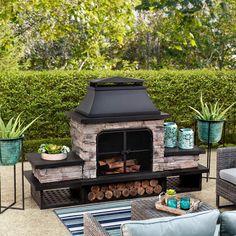 Outdoor Wood Burning Fireplace Patio FirePit Cozy Furniture Rust-Resistant Steel #SmartDealsMarket Wood Pergola, Patio Gazebo, Pergola Canopy, Wood Patio, Backyard Patio, Backyard Landscaping, Backyard Ideas, Pavillion Backyard, Gazebo Curtains