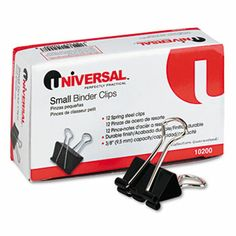 "www.unitedimaging.com #everythingfortheworkplace Universal Small Binder Clips, Steel Wire, 3/8"" Capacity, 3/4"" Wide, Black/Silver, Dozen"