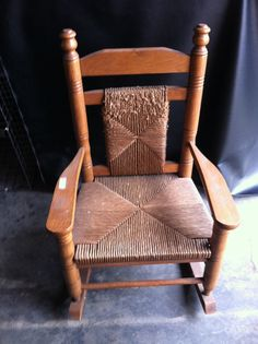 Vintage Wood Child's Woven Rocking Chair Local by JenCinAntiques, $55.00