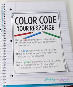 FREE printable to teach students to color code their constructed response reading answers. For the weekly reading response question Reading Resources, Reading Skills, Teacher Resources, Reading Groups, Teacher Tools, 5th Grade Reading, 6th Grade Ela, Third Grade, Fourth Grade