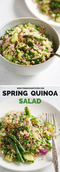 Spring Quinoa Salad - This Spring Quinoa Salad is loaded with asparagus, peas, cucumber, red onions and with an easy and delicious homemade vinaigrette. | www.primaverakitc...