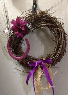 Western Decor Wreath Home Or CountryBurlap & by RopinWreaths, $20.00  Do this with barb wire