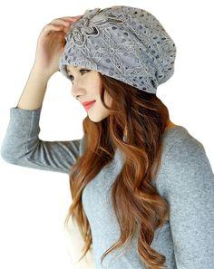 a9cd41baff1a2 Qunson Womens Lace Flower Beanie Hat Cap Turban - Grey - C5126JIJ78T