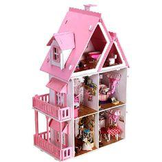 Iie criar sonho casa de madeira DIY com miniatura de luz e móveis casa grande Venda - Banggood.com