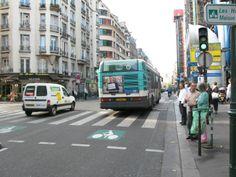 BICYCLE-BUS LANE, Paris, with bus! Bicycle, Street View, Symbols, Paris, Bike, Montmartre Paris, Bicycle Kick, Bicycles, Paris France